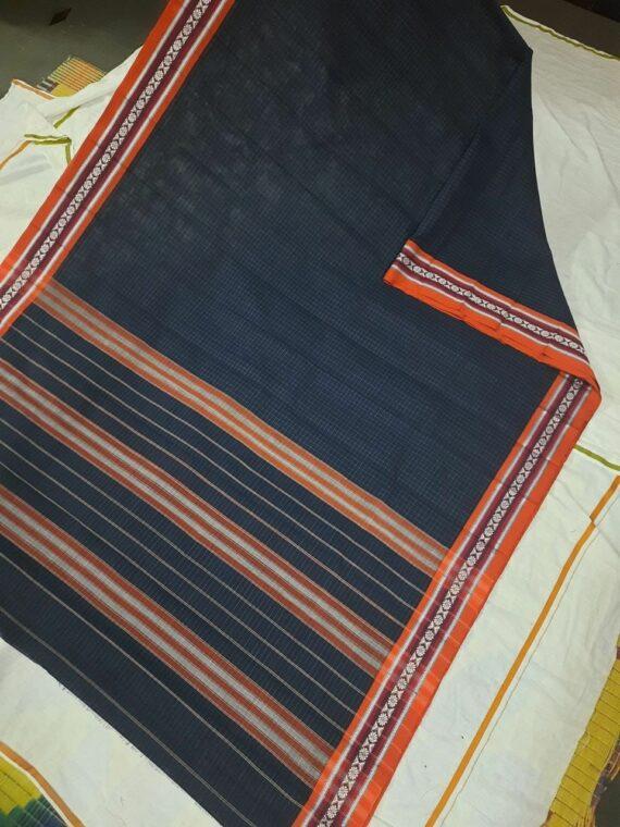 Black Check Pattern Narayanpet Pure Handwoven Cotton Saree