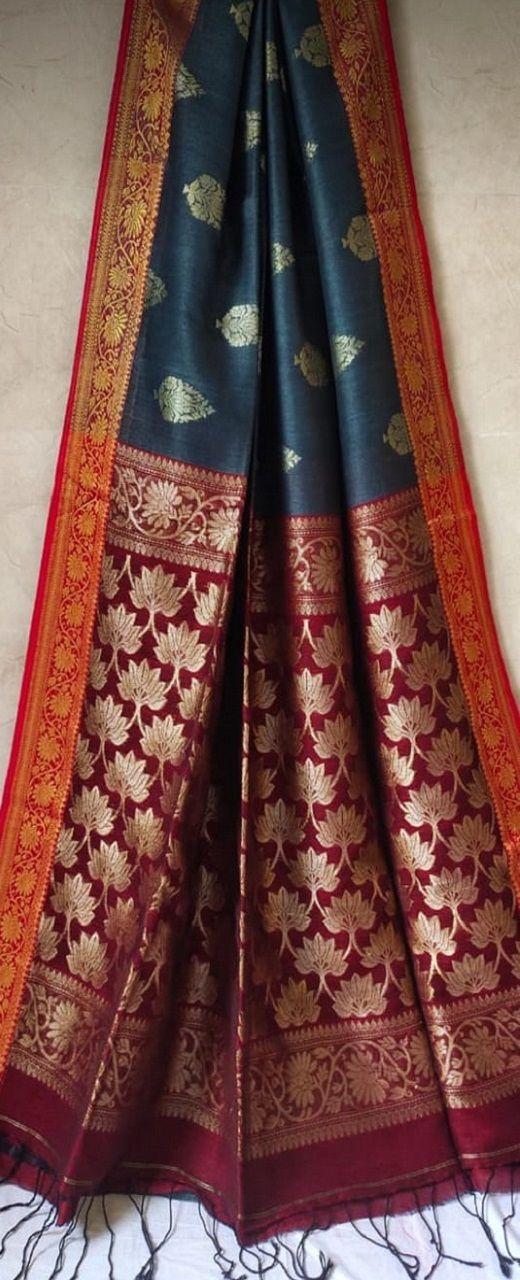 Brilliant Dark Grey Banarasi Weave Linen Saree For Happy Occassions