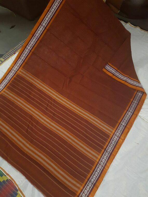 Classic Mustard Brown Check Pattern Narayanpet Pure Handwoven Cotton Saree