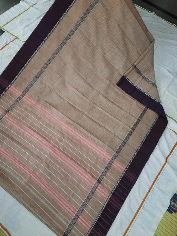 Cream Check Pattern Narayanpet Pure Handwoven Cotton Saree