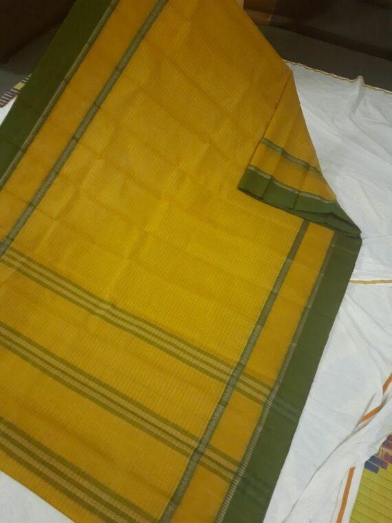 Lemon Yellow Check Pattern Narayanpet Pure Handwoven Cotton Saree
