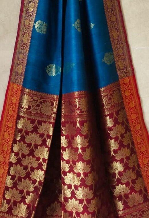 Luminous Light Blue Banarasi Weave Linen Saree For Happy Occassions