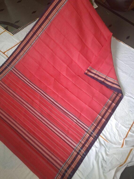 Tomato Red Check Pattern Narayanpet Pure Handwoven Cotton Saree