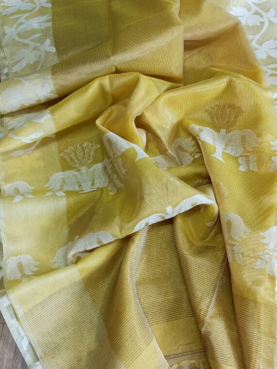 Divine Yellow Tissue Muslin Handloom Saree
