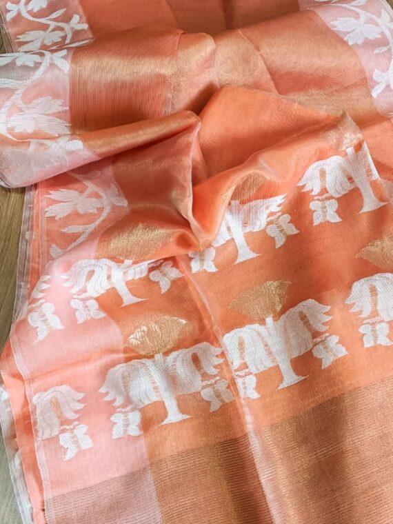 Elegant Orange Tissue Muslin Handloom Saree