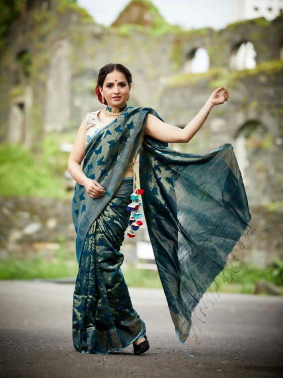 Teal Blue Butterfly Weave Handloom Matka Silk Saree (2)