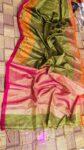 Mesmerizing Mehendi Green Handloom Tissue Linen Saree With Intricate Border Weave