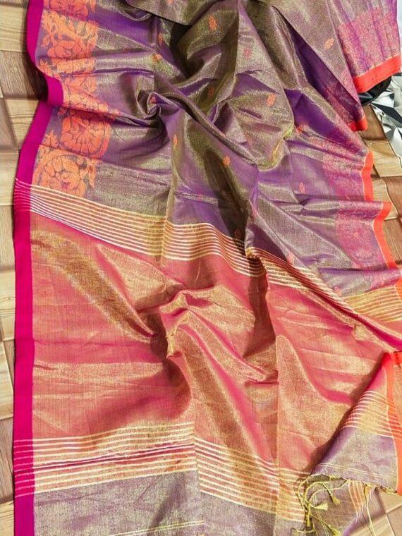 Stunning Purple Handloom Tissue Linen Saree With Intricate Border Weave