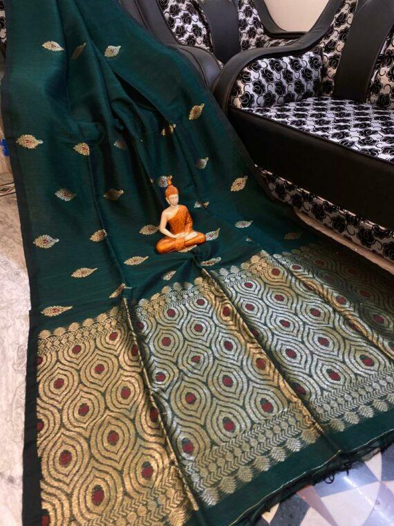 Adorable Bottle Green Motif Woven Cotton Linen Saree