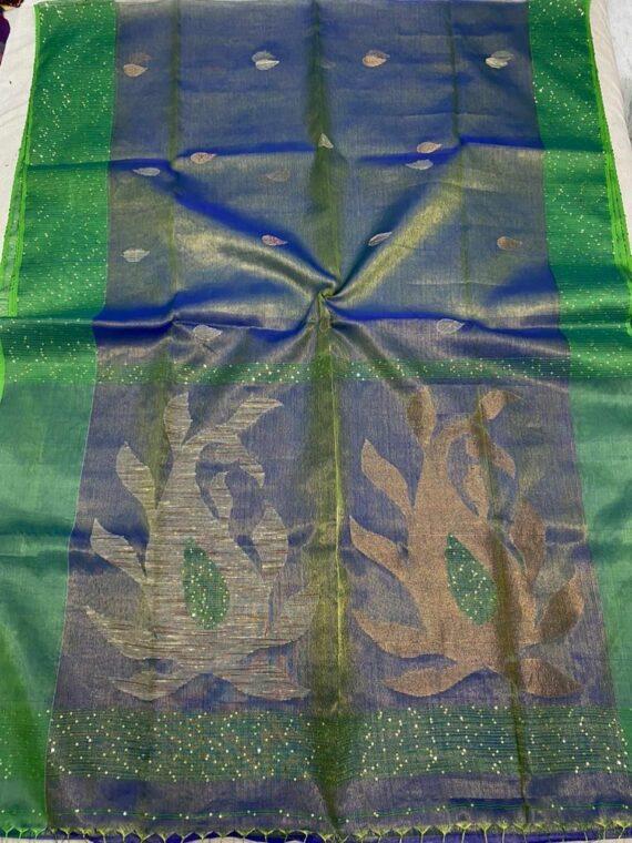 Alluring Royal Blue Green Blend Tissue Muslin Sequins Handwoven Saree