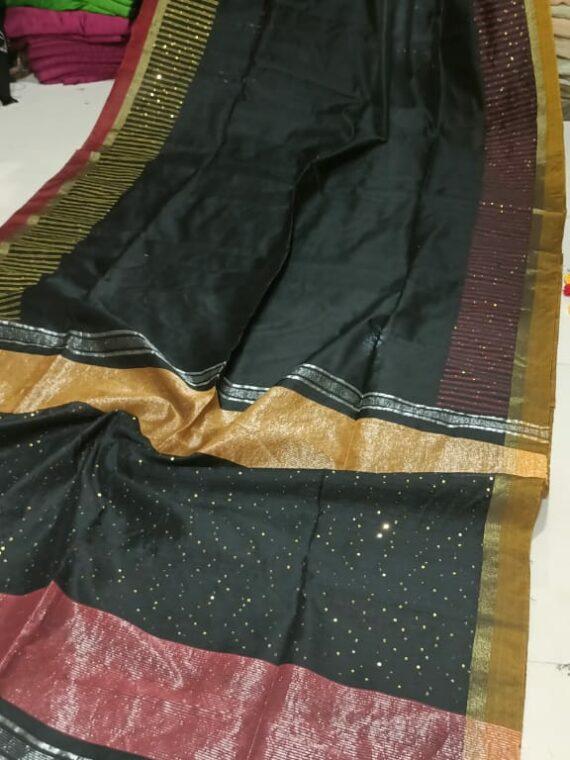 Attractive Black Cotton Silk Sequins Saree