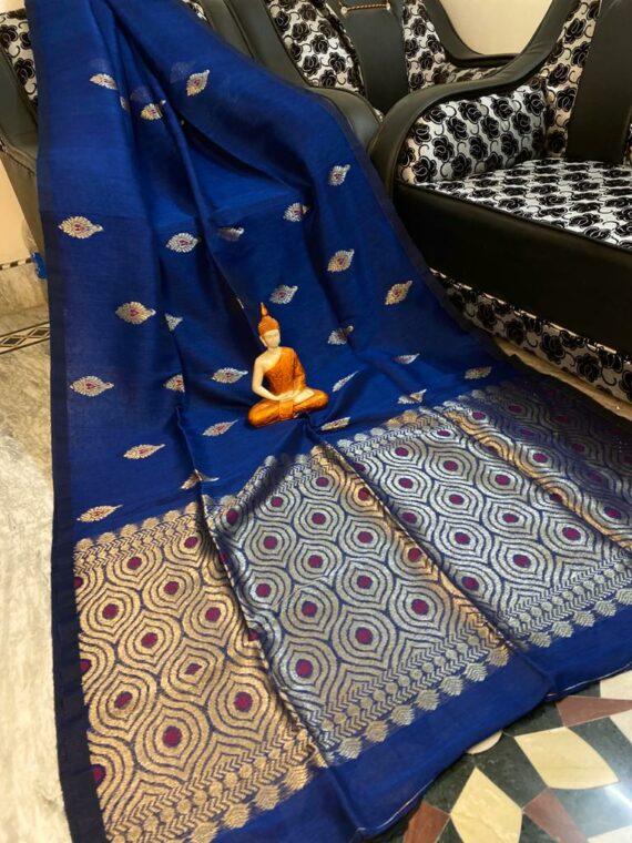 Brilliant Blue Motif Woven Cotton Linen Saree