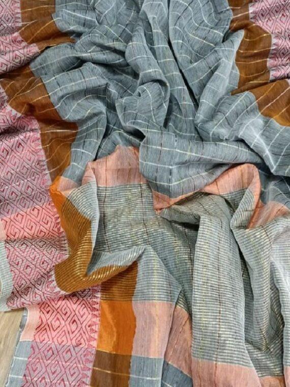 Charming Grey Check Design Handloom Cotton Silk Saree
