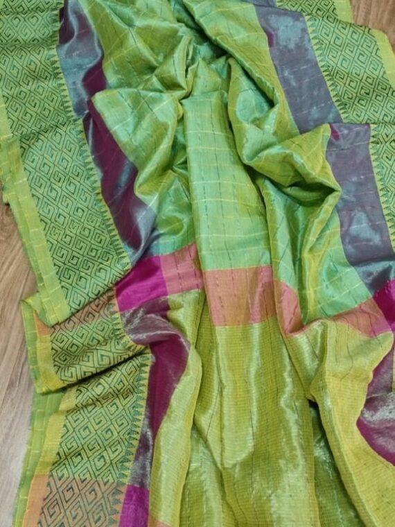 Dazzling Green Check Design Cotton Silk Saree