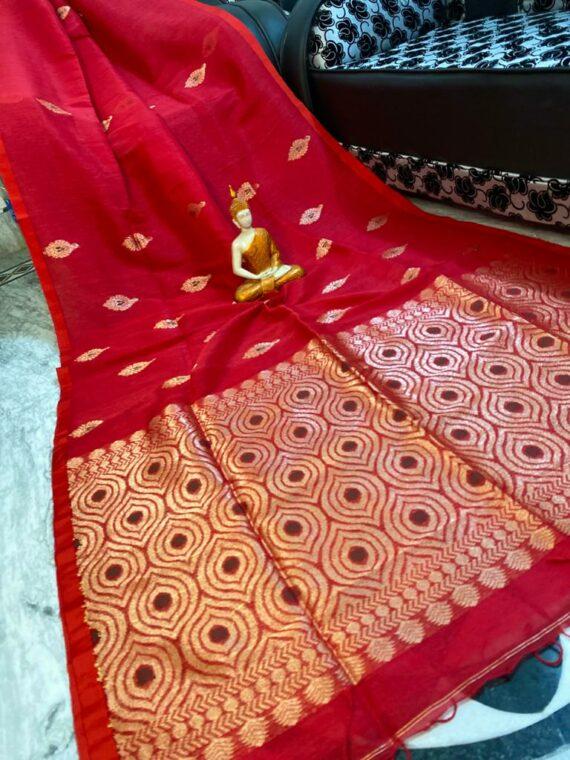 Dazzling Red Motif Woven Cotton Linen Saree