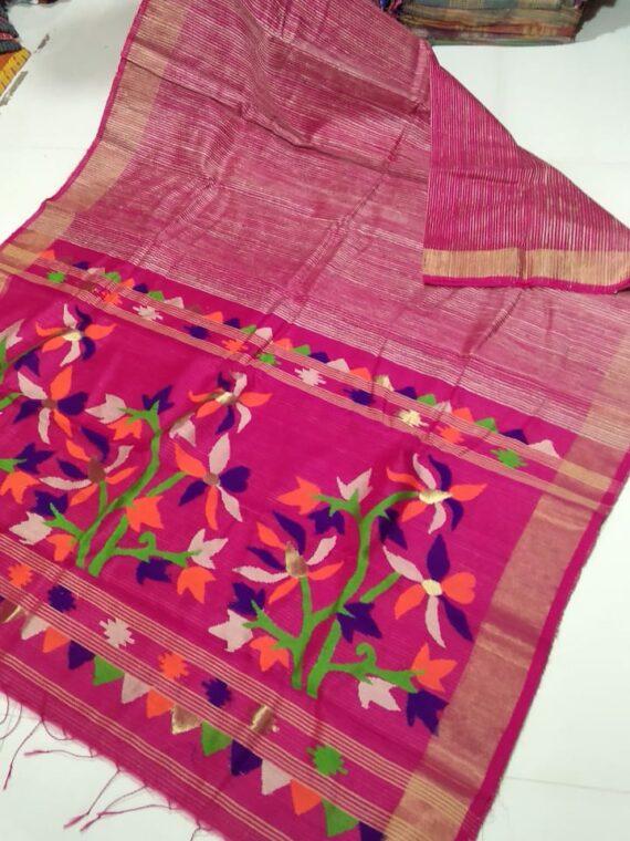 Delightful Bright Pink Organic Jute Silk Saree with Golden Border