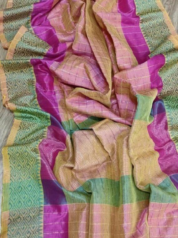 Dual Shade Cream Pink Check Design Handloom Cotton Silk Saree