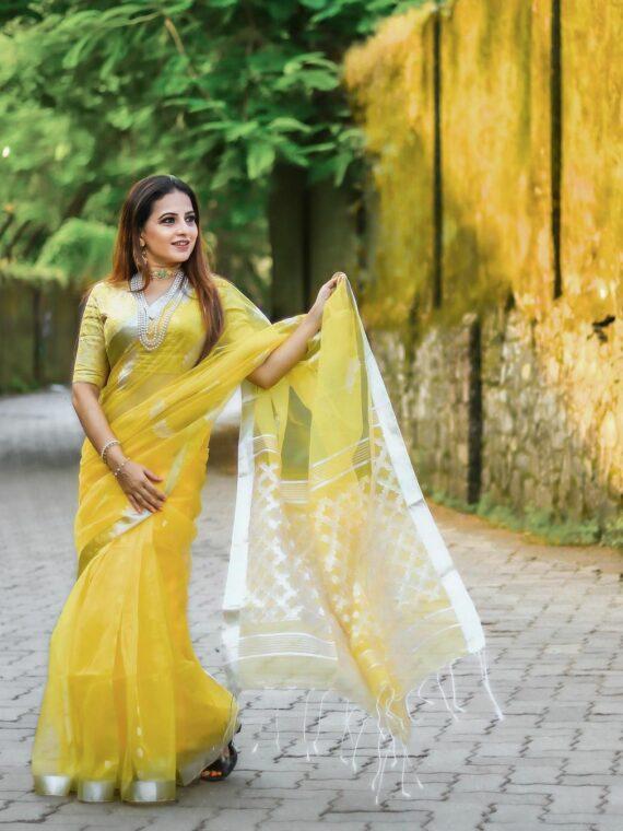 Glorifying Yellow Tamarind Leaf Design Resham Muslin Silk Saree