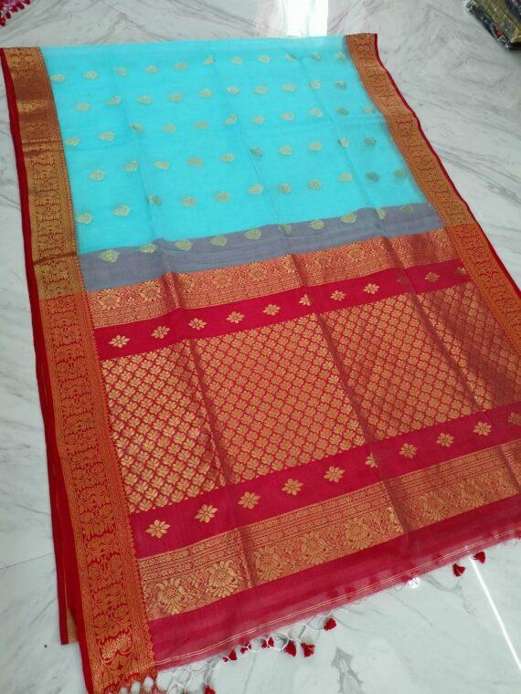 Healing Sky Blue Red Blend Resham Muslin Silk Jamdani Saree