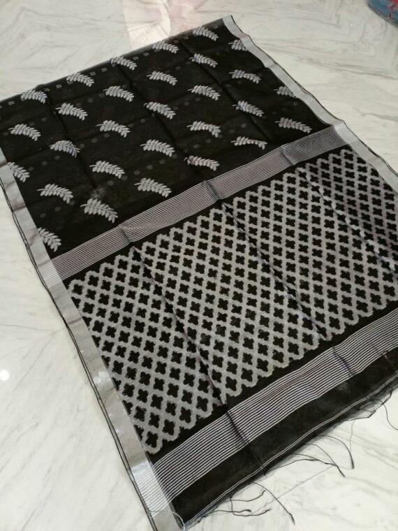 Impressive Black Silver Tamarind Leaf Design Resham Muslin Silk Saree