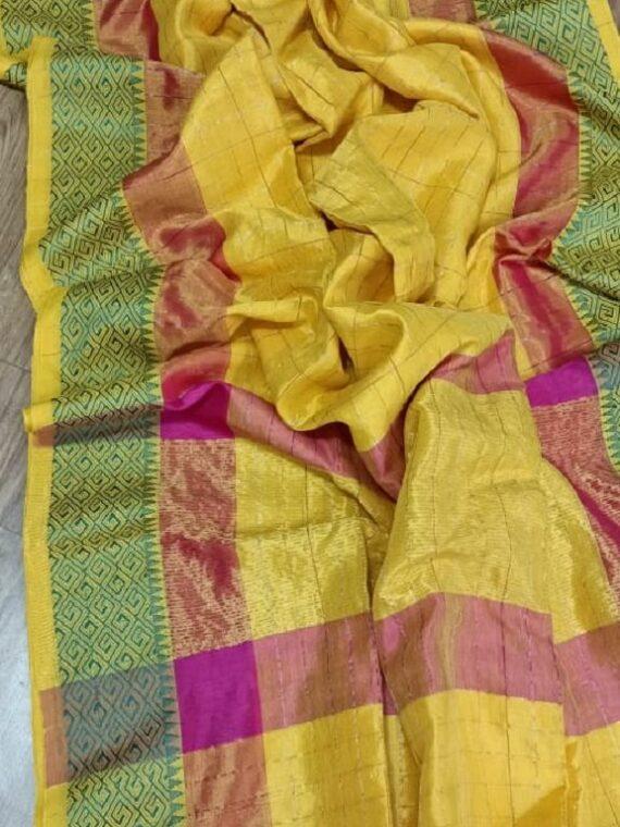 Marvelous Yellow Check Design Handloom Cotton Silk Saree