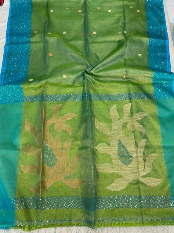 Mesmerizing Green Blue Blend Tissue Muslin Sequins Handwoven Saree