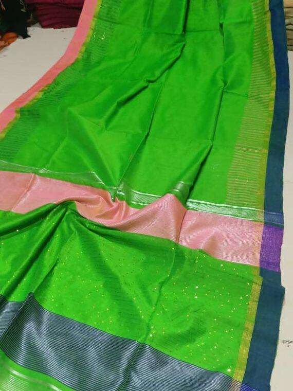 Pleasing Grass Green Cotton Silk Sequins Saree