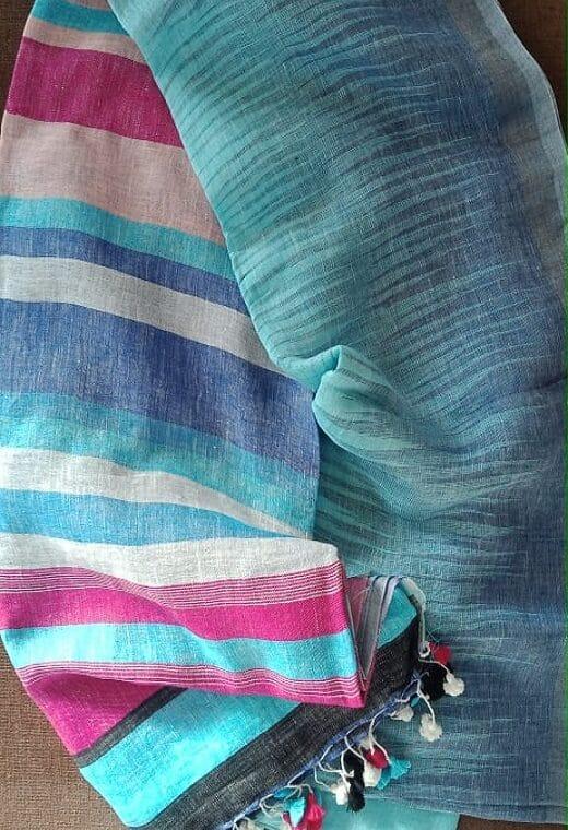 Smart Light Blue Soft Linen Ikkat Weave Linen Saree