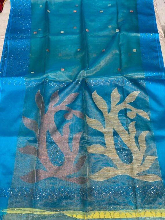 Truly Dazzling Blue Tissue Muslin Sequins Handwoven Saree