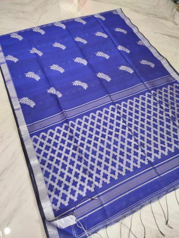 Wondorus Violet Tamarind Leaf Design Resham Muslin Silk Saree